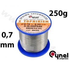 Lydmetalio viela Ø 0,70mm. 250g su fliusu