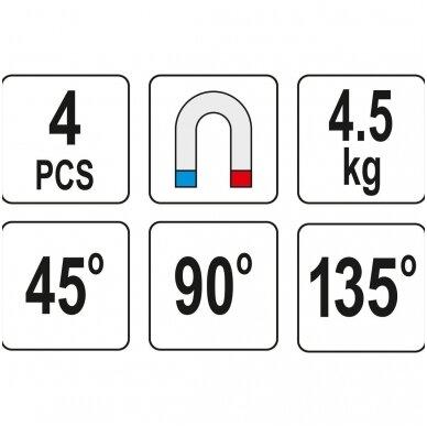 Magnetinių laikiklių rinkinys 45°- 90° - 135° 4vnt. 3