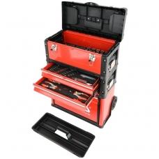 Metalinė dėžė su įrankiais ant ratukų