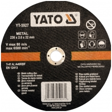"Pjovimo diskas metalo pjaustymui 230x2,0x22 mm ""Yato"""