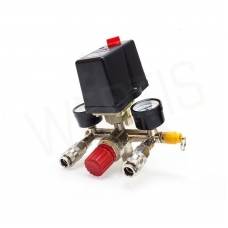 Reguliatorius kompresoriui su slėgio jungikliu ir manometrais - 380V