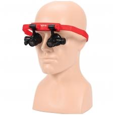 Padidinimo akiniai dedami ant galvos