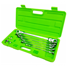 Pailgintų terkšlinių vartomų raktų rinkinys su adapteriais 8 - 19 mm