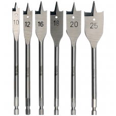 Plunksninių grąžtų rinkinys 10-25 mm, 6 vnt,