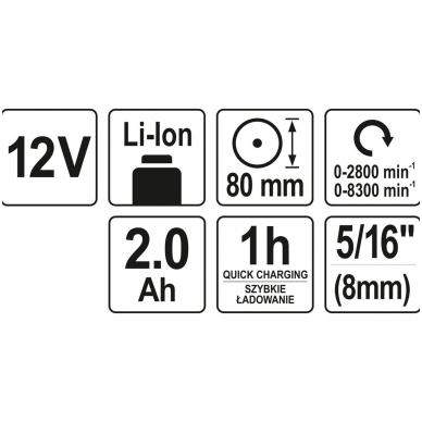 Poliruoklis akumuliatorinis 2AH - 1H - 80 mm - 2 greičiai 6