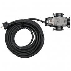 Prailginimo kabelis guminis IP44, 3x1,5mm2 10m su 3 rozečių lizdais