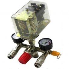 Reguliatorius kompresoriui su slėgio jungikliu ir manometrais 380V