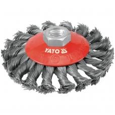 Šepetys vielinis lėkštės tipo, stambus plienas, 100mm M14