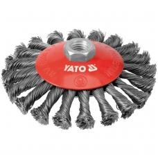 Šepetys vielinis lėkštės tipo, stambus plienas, 125mm, M14