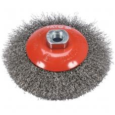 Šepetys vielinis lėkštės tipo nerūdijantis plienas INOX  M14 - 125mm.