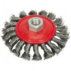 Šepetys vielinis lėkštės tipo, stambus plienas, 115 mm, M14