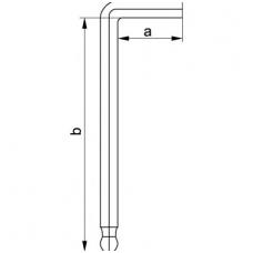 Šešiakampis raktas lenktas ilgas su šarnyru 10 mm, 6vnt