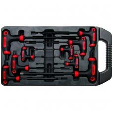 Šešiakampių raktų komplektas Hex varžtams dėžutėje 9 vnt, 2x100 mm - 10x200 mm