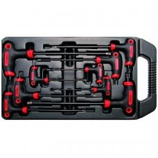 Šešiakampių raktų komplektas T-star varžtams 9 vnt, CR-V ,T10x145 mm - T50x280 mm