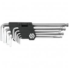Šešiakampių šarnyrinių ilgų raktų komplektas 9 vnt, 2,5-10 mm