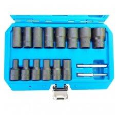 """Specialus galvučių rinkinys, sraigtiniai ištraukikliai 1/2"""" 8 - 27mm. 16vnt."""
