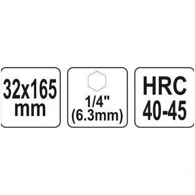 """Spiralinis grąžtas medžiui - su hex (1/4"""") galu - 32 mm 4"""
