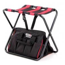 Sudedama kėdutė su įrankių krepšiu ir kišenėmis