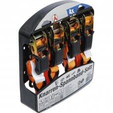 Terkšlinių diržų komplektas su tvirtais kabliukais 5m. x 25mm. 4vnt.