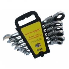 Terkšlinių raktų komplektas vartoma galvute 8-17 mm. 6 vnt.