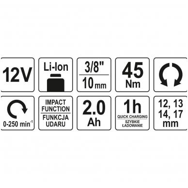 """Terkšlė akumuliatorinė smūginė -12.5 mm (1/2"""")- 12V 2,0AH 45 NM 6"""