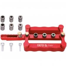 Universalus įrenginys, skirtas nustatyti skyles medinių elementų prijungimui 6, 8, 10 mm