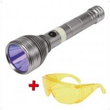 UV žibintuvėlis akumuliatorinis LI-ION 3.7V 1500 mAh + akiniai