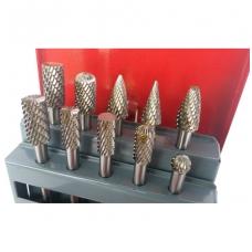 Volframo karbido deimantinių frezų rinkinys 10 vnt