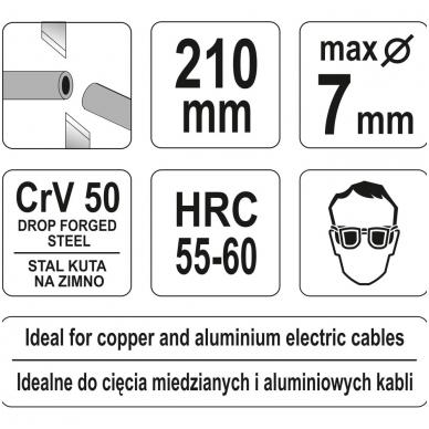 """Žirklės kabeliui 210 mm """"Yato"""" 3"""