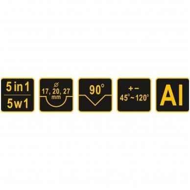 Žirklės kampinės plasmasiniams ir guminiams profiliams 5 IN 1 8