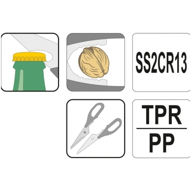 Žirklės virtuvinės sudedamos dvispalvės 2CR13 2